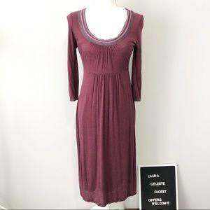Boden purple scoop neck long sleeve maxi dress 6